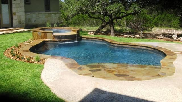 Beach entry pools with spa pool and spa with for Pool design okc
