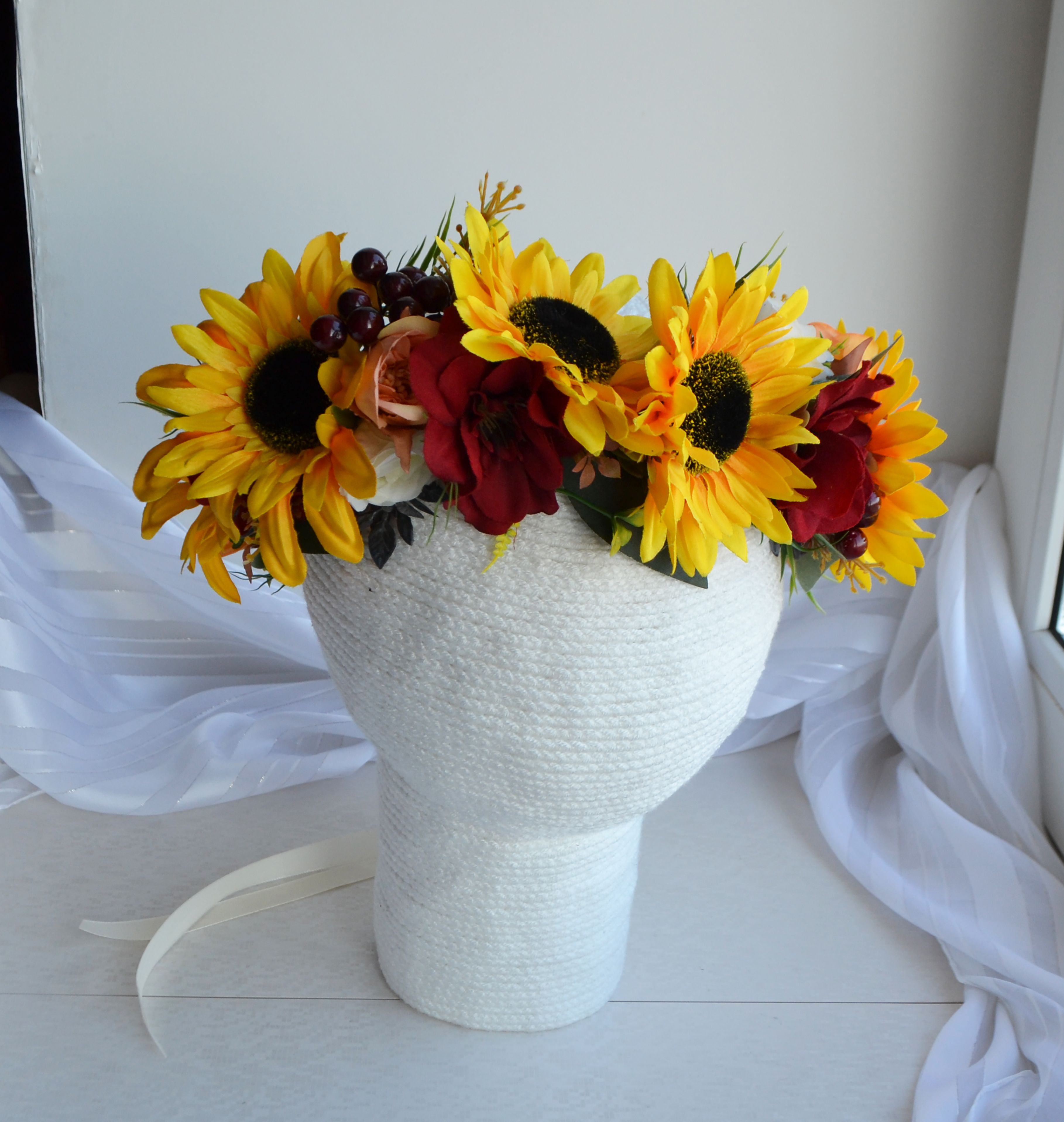 Sunflower crown Yellow red Large headpiece Maternity ...