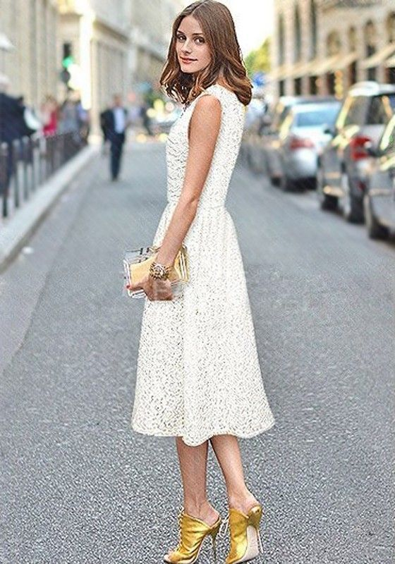 Lace dress below the knee