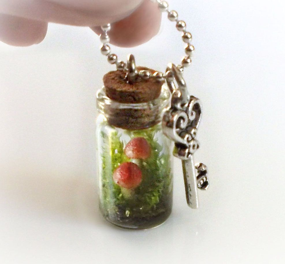 Secret garden terrarium necklace, live moss and clay mushrooms in a bottle, tiny small vial necklace. €20.00, via Etsy.