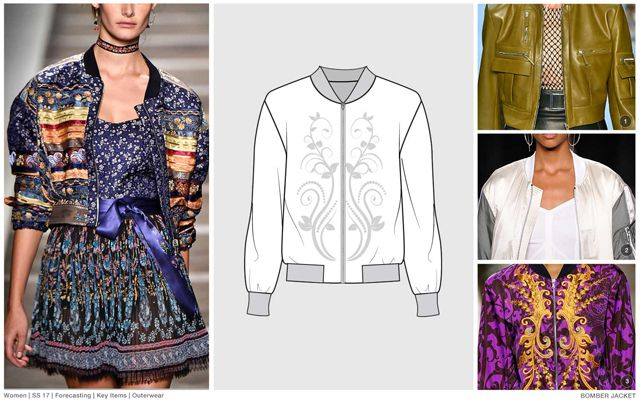 FASHION VIGNETTE: Trends Outerwear - bomber jacket (Utility Pockets Rounded Shoulders Embroidery)