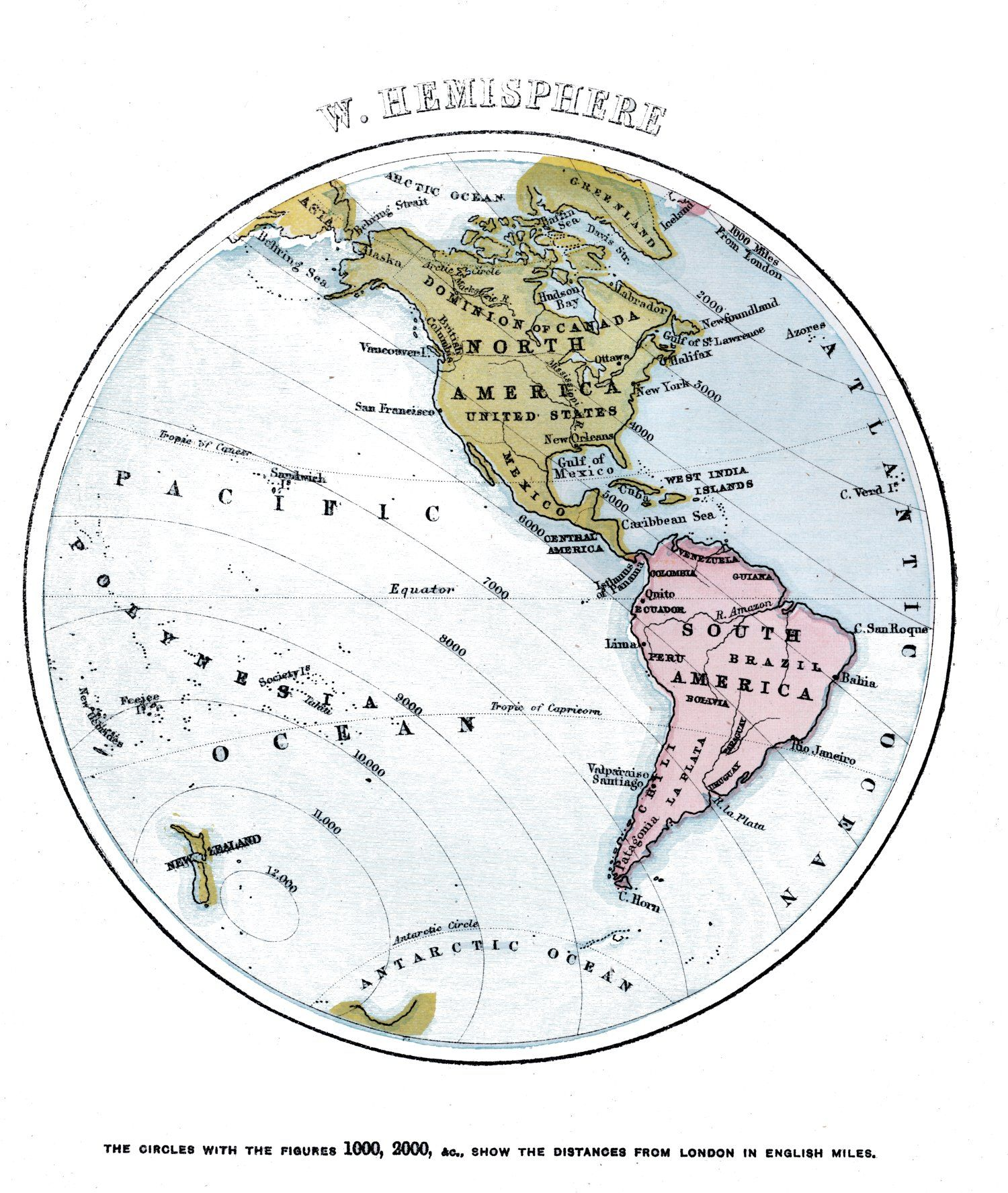 Map Of The World Western Hemisphere