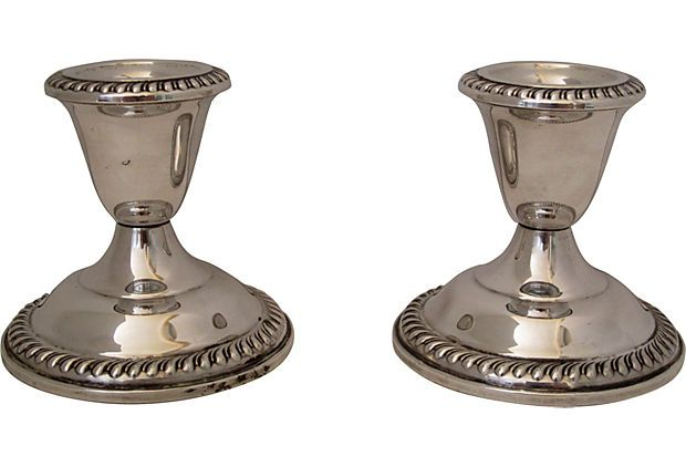 Sterling Silver Candleholders, Pair