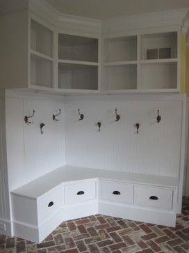 Adorable Corner Bench Drawer With Hooks Amp High Shelving Mudroom Organization Mudroom Design