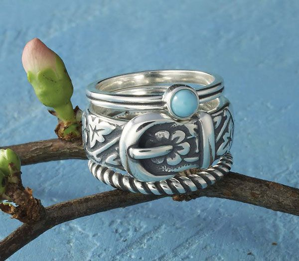 Tiny Turquoise Ring, Floral Belt & Buckle Ring and Small Twisted ...