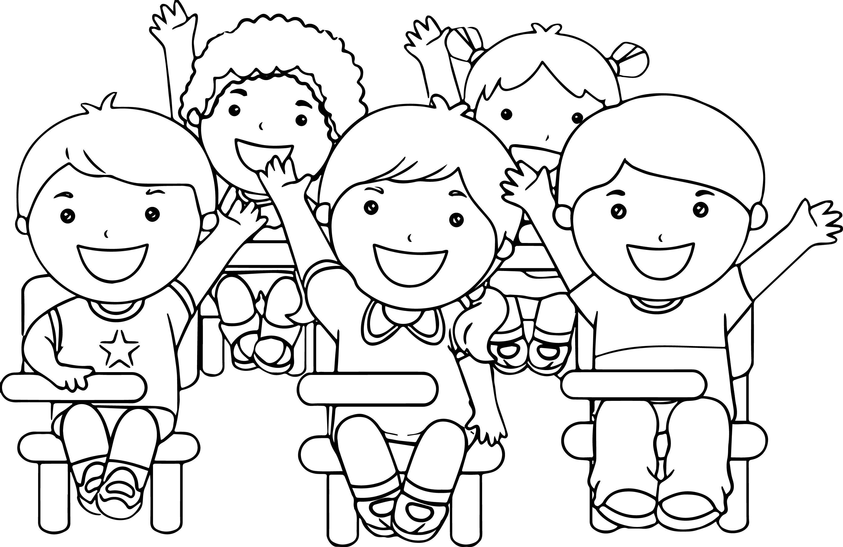 At-The-School-Children-Coloring-Page | Pinterest | School children ...