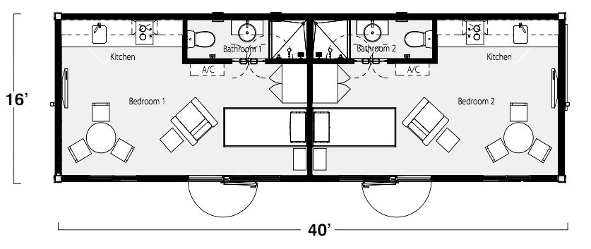 Two bedroom two bath shipping container home floor plan - Shipping container bathroom design ...