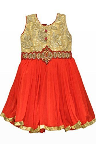 Red and Gold Colour Kids Wear Kids Frock, Vasundhara Fashions Indian Clothing
