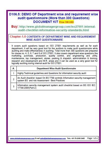 Iso  Internal Audit Checklist Document Kit Covers Iso