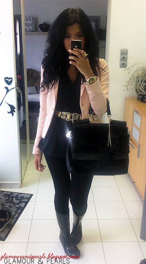 Fashion: pants blazer rain boots