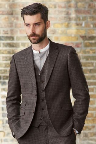 Brown Check Skinny Fit Suit from Next | Men's Style | Pinterest ...