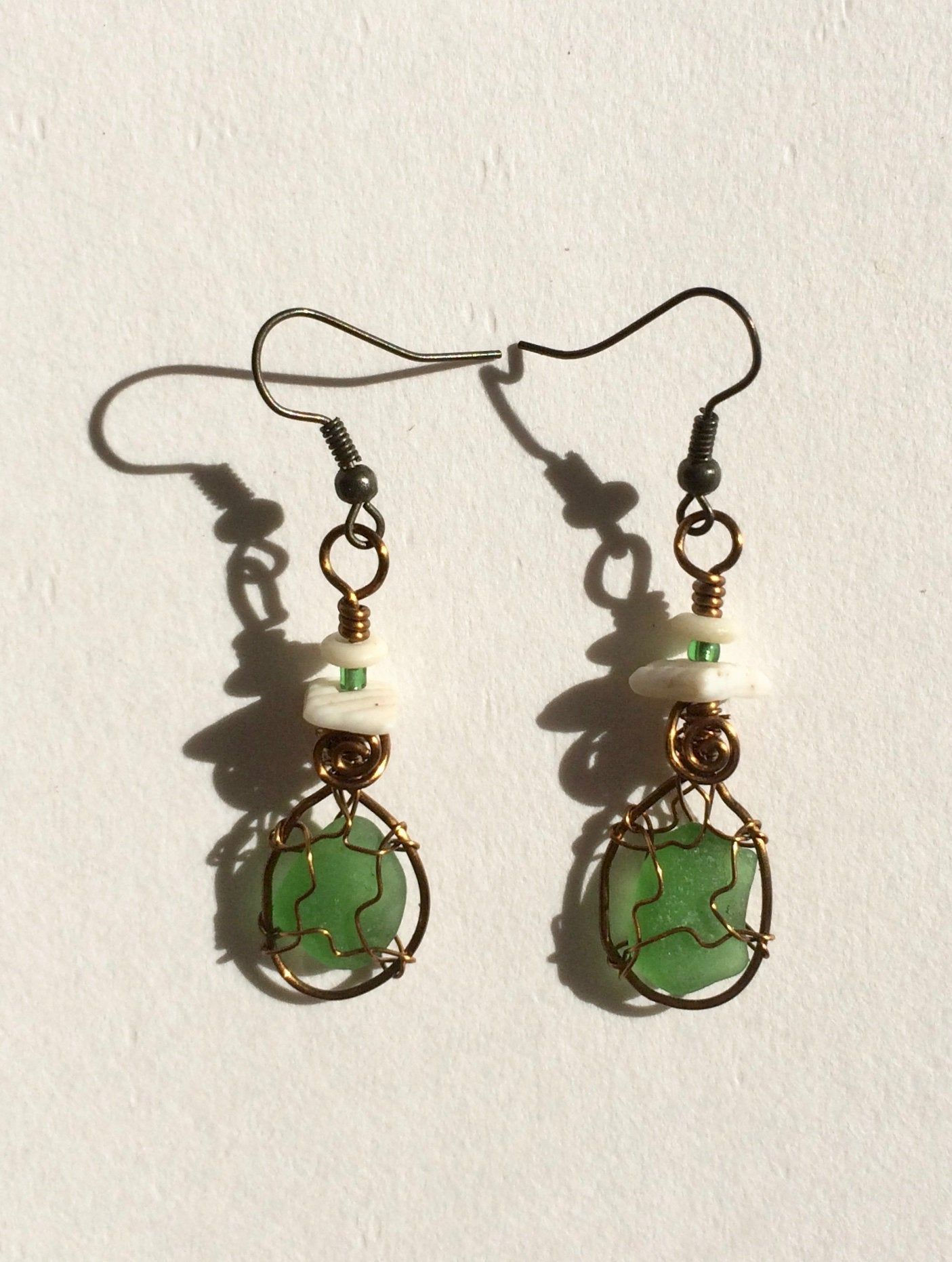 Photo of Green Sea Glass Earrings Wire Wrapped Real Found Beach Glass Jewelry Sea Glass …