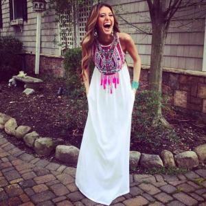 Sukienka Biala Maxi Dluga Wzor Aztecki Hit S 36 5456952220 Oficjalne Archiwum Allegro Fashion Boho Fashion Style