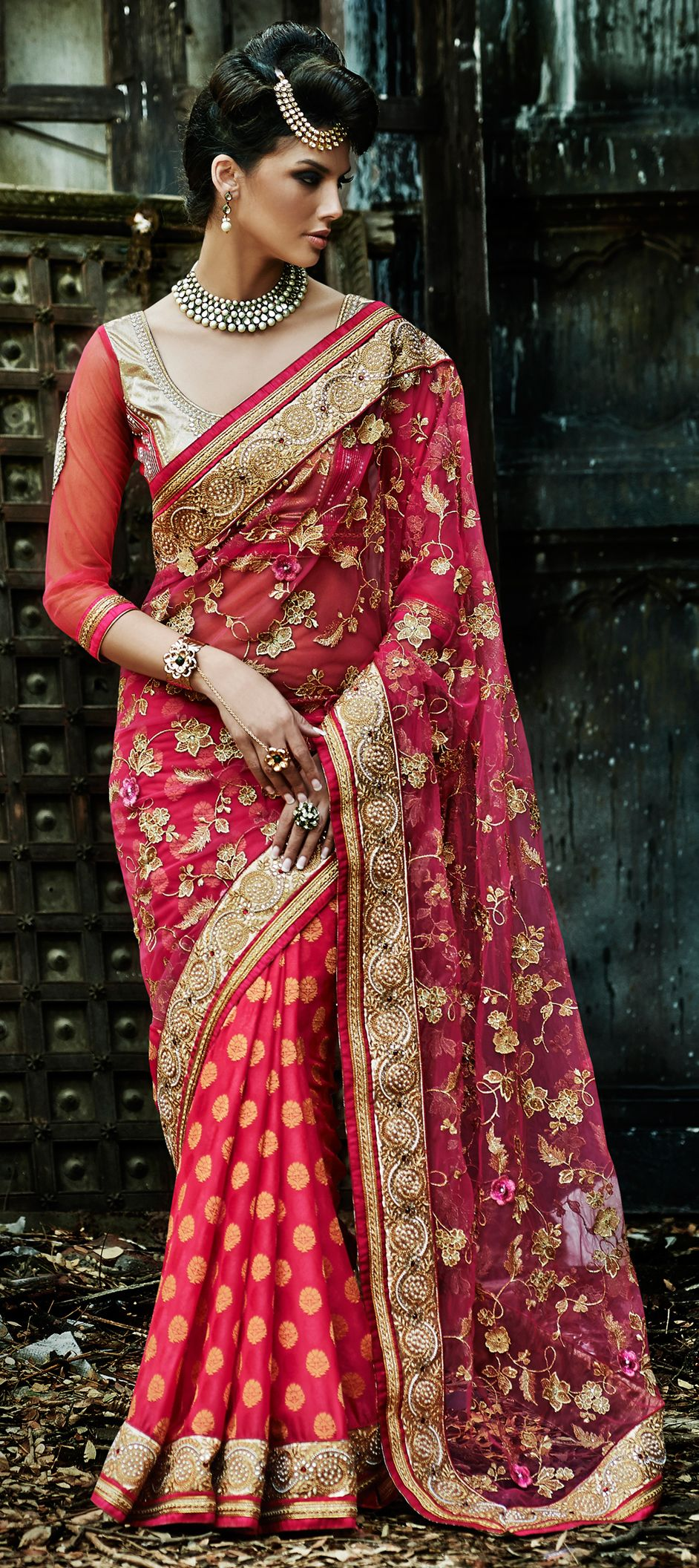 157964: Pink and Majenta color family Embroidered Sarees, Party Wear ...