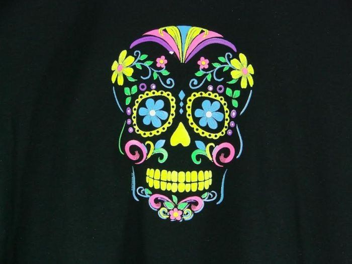 Day of the Dead Neon Sugar Skull WOMANS SHORT SLEEVE T Shirt 18309