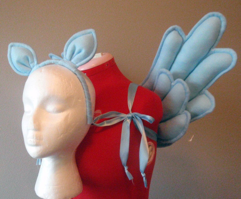 Costume Rainbow Dash Pegasus Wings And Ears Blue Felt