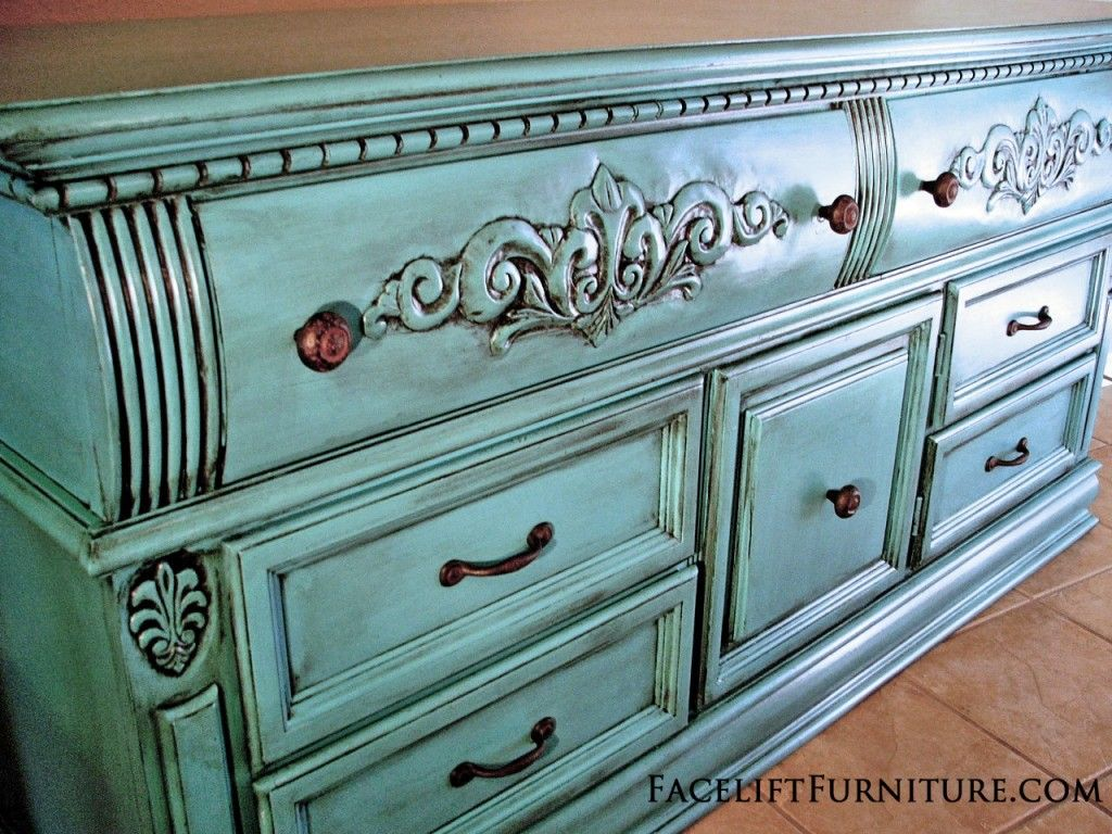 Ornate Dresser in Turquoise with Black Glaze ~ from Facelift Furniture ~  Create this look on - Turquoise Dresser Glazed Black - Before & After Dresser, Glaze