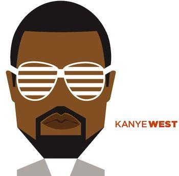 Kanye West Funny Caricatures Celebrity Portraits Face Illustration