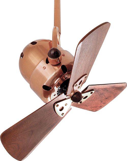 Matthews Fan Co. Bianca Directional Wood Ceiling Fan Model BD-CP-WD in Polished Copper