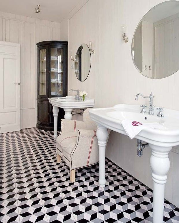 great bathroom tile - not enough storage but very cool bathroom otherwise.