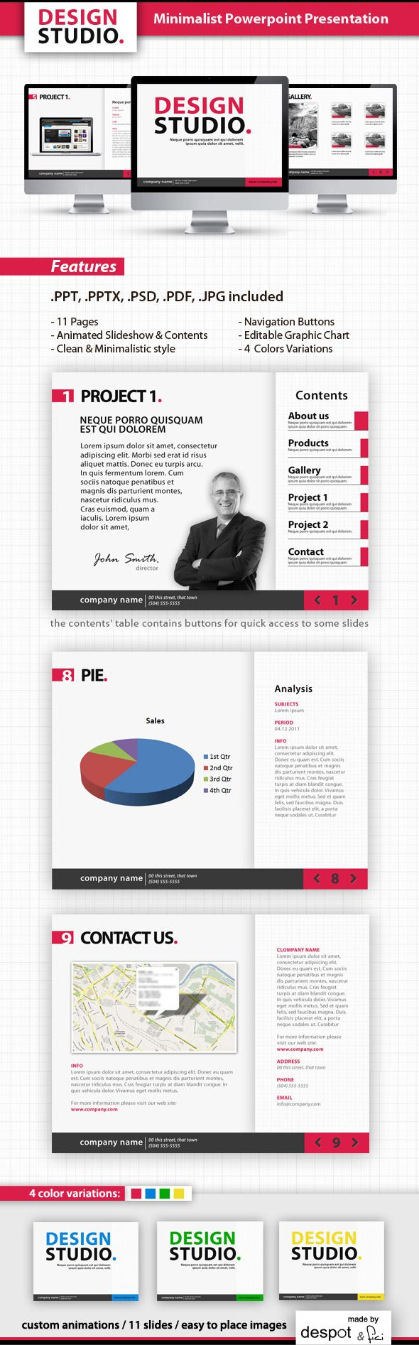 Minimalist Powerpoint Template Blue Modern Click Here To