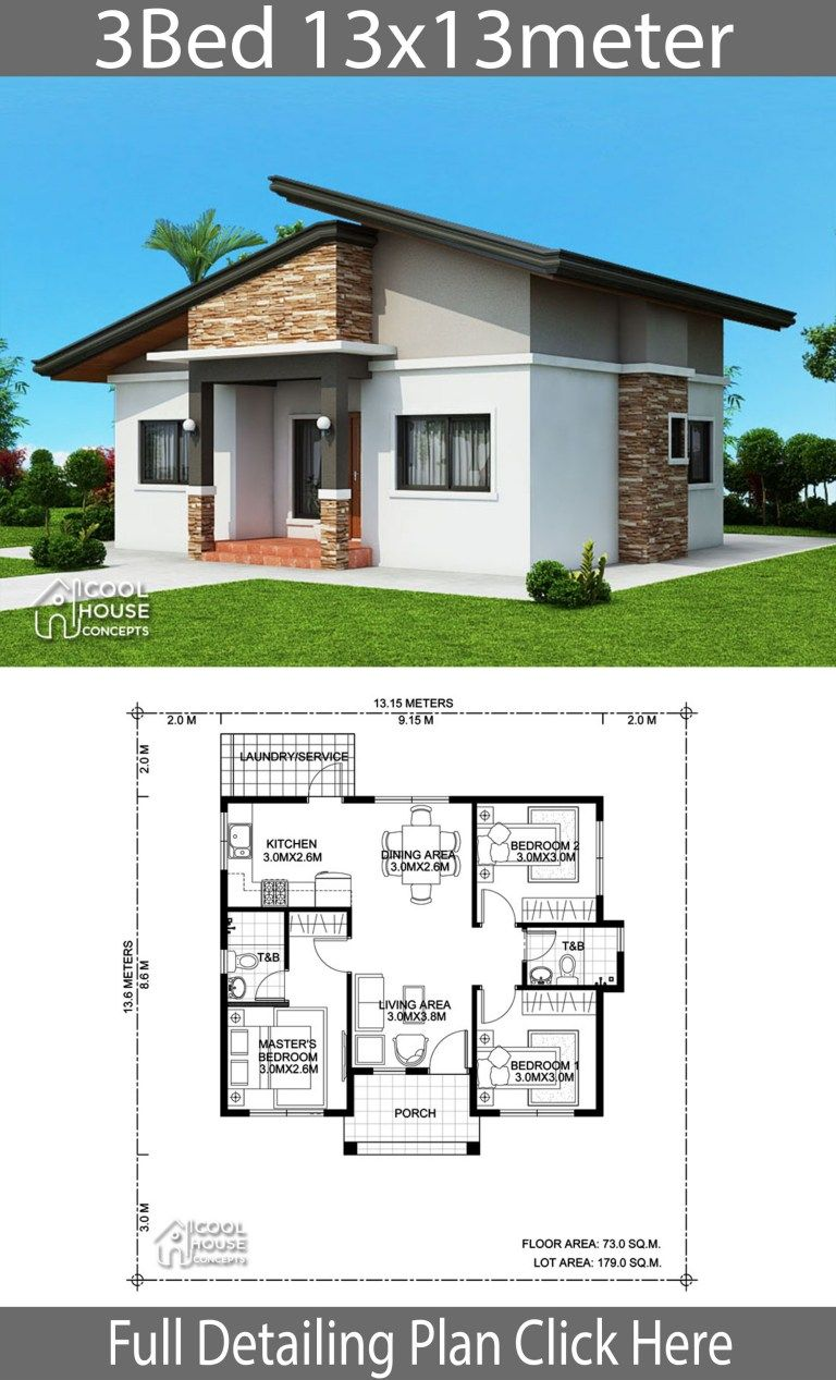 Home Design Plan 13x13m With 3 Bedrooms Home Ideas Bungalow House Plans Modern Bungalow House House Construction Plan
