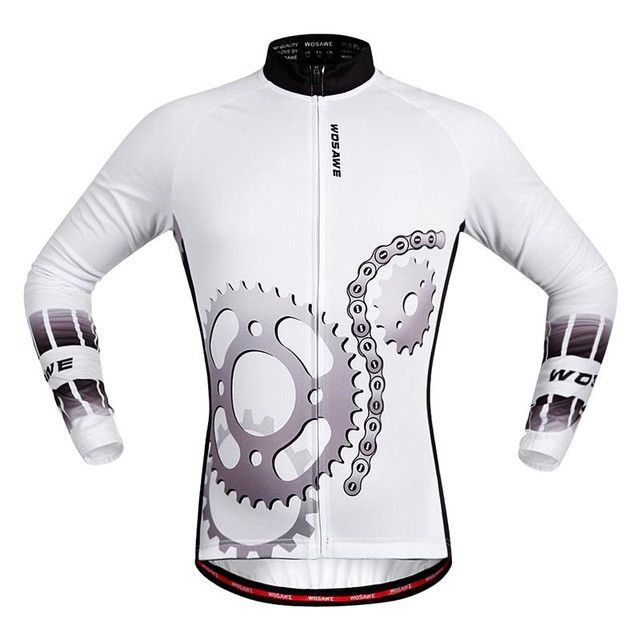 e6517bee7 WOSAWE 100% POLYESTER Men s Cycling Jersey Long Sleeve Outdoor Sports  Bicycle Cycle Clothing Quk Dry Riding Clothes