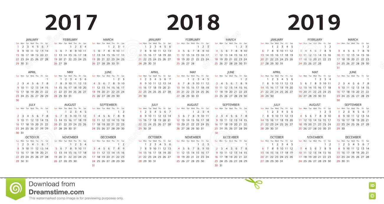 Foto Acerca Vector Las Plantillas Del Calendario 2017