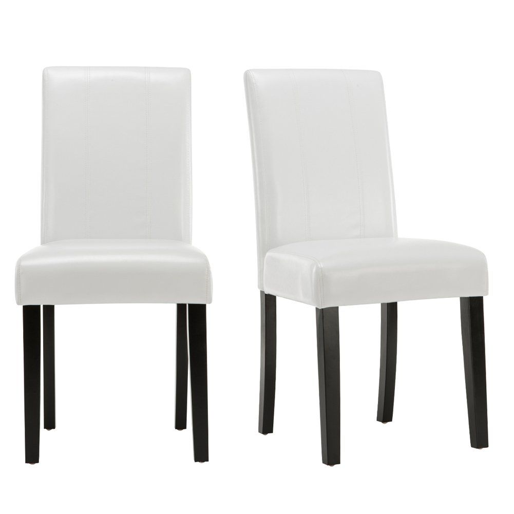 Andeworld Set of 2 PU Leather Dining Chairs Padded Kitchen Chairs ...