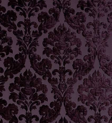 Flocked Damask Wallpaper Aubergine