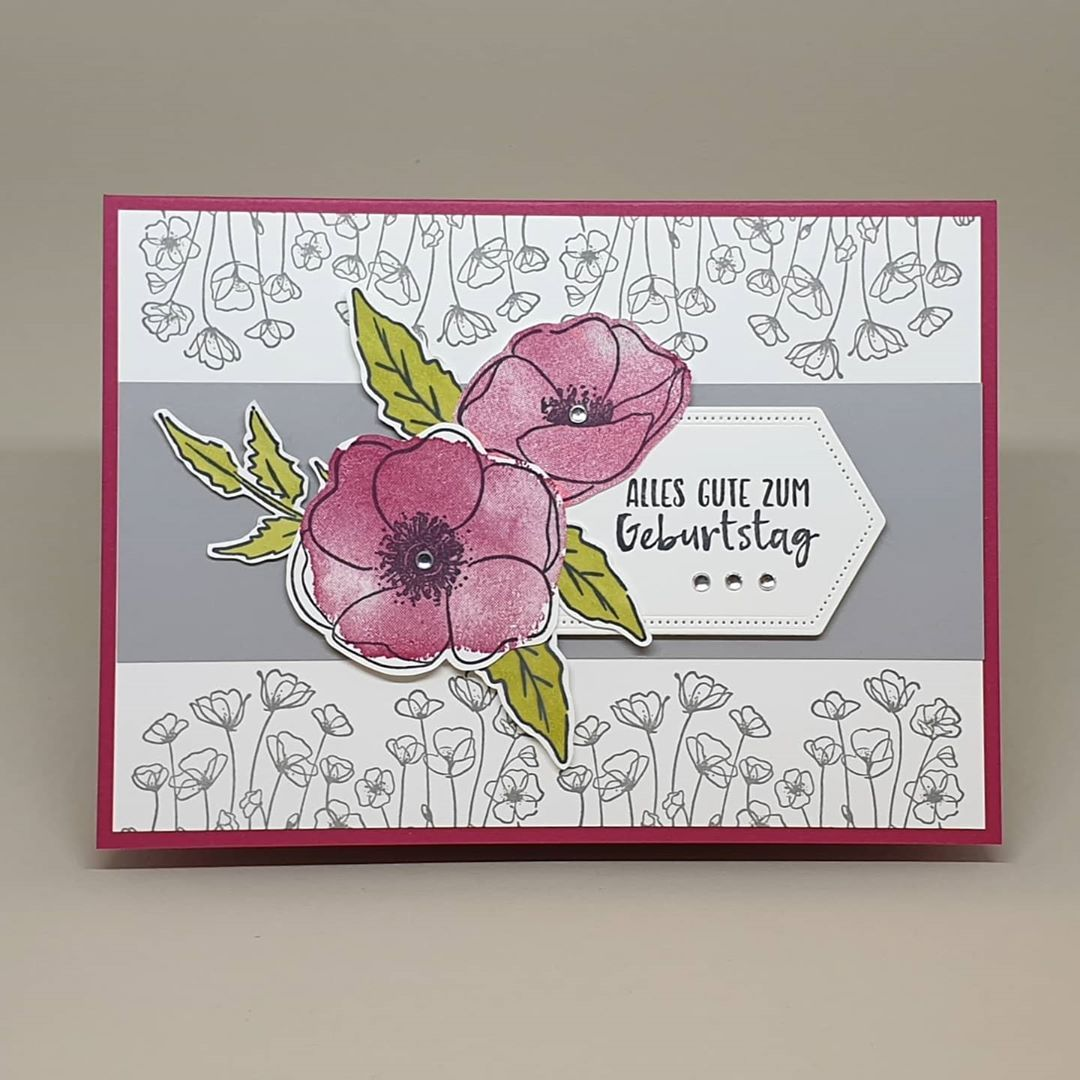 Stampin Up Painted Poppies Geburtstagskarte Gluckwunschkarte In 2020 With Images Poppy Cards Stamping Up Cards Cards Handmade