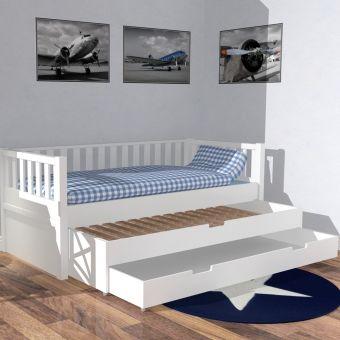 roomstar kojenbett ii inkl g stebett bettschublade 90x200cm weiss g nstig online kaufen. Black Bedroom Furniture Sets. Home Design Ideas