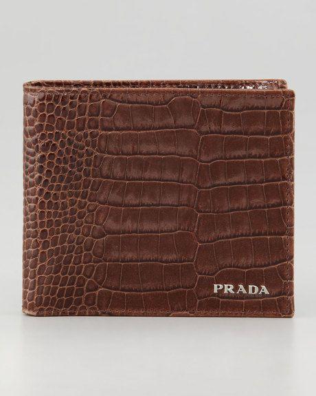 daea73a86 Prada Crocodileembossed embossed Bifold Wallet Siglo Xxi, Carteras,  Comprar, Hombres, Cartera Prada