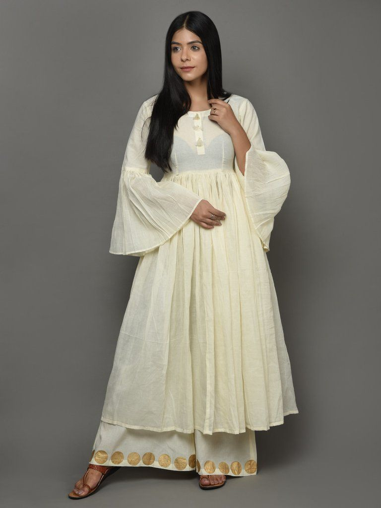 89eb2bd50cb Off White Cotton Anarkali Kurta With Bell Sleeves