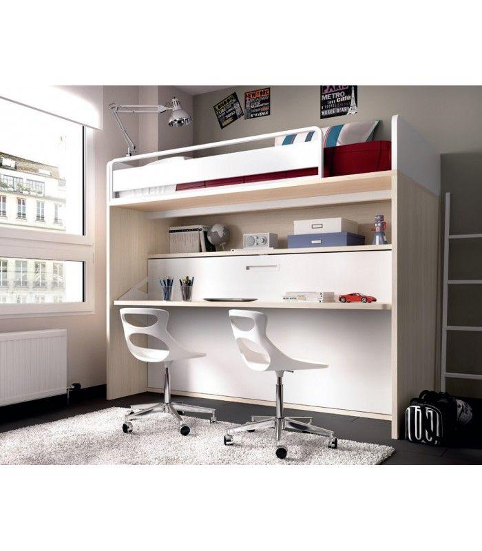 Litera con cama abatible y escritorio sincronizado es una litera con cama fija arriba y - Cama plegable escritorio ...