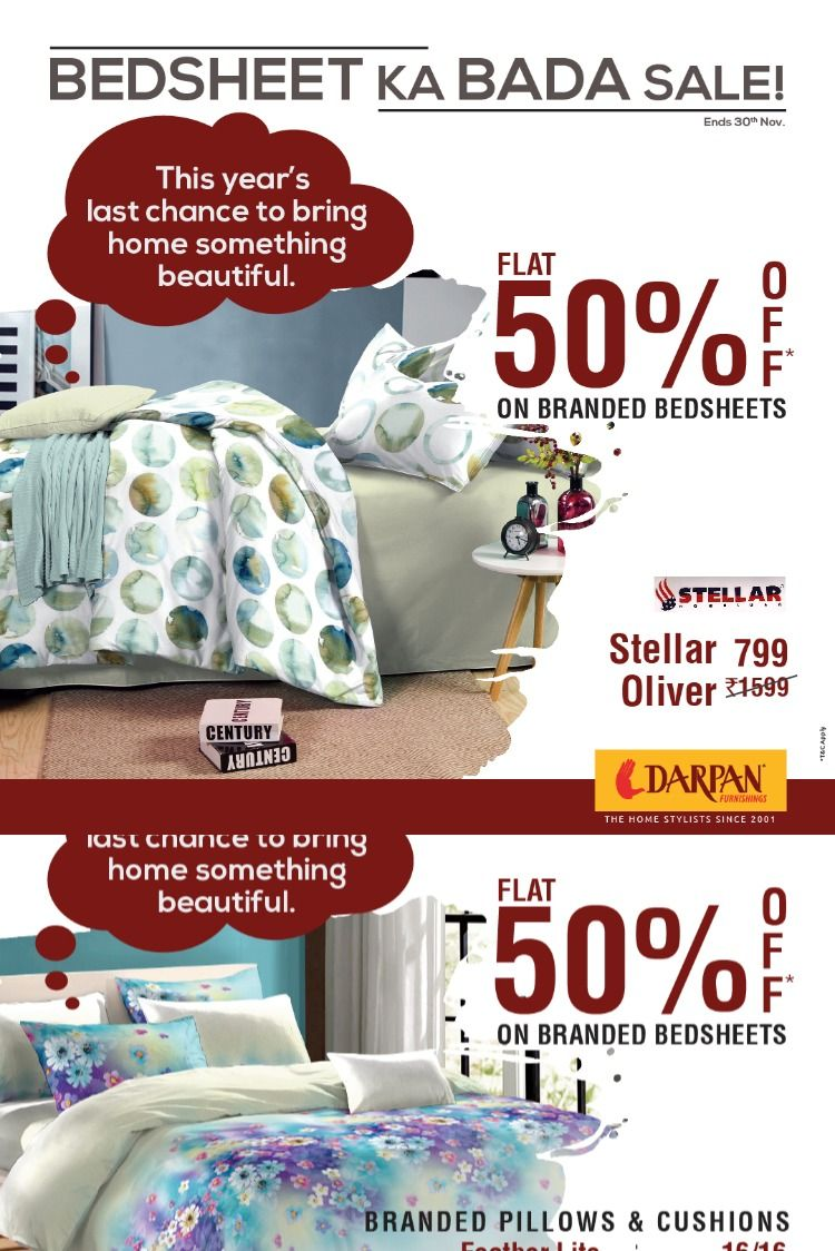 Flat 50* off on branded Bedsheets Your onestop