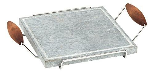 """Bisetti BT-99002 Square Cooking Stone with Chrome Frame & Beech Wood Handles Walnut Finish, 9.8"""" x 9.8"""", Grey"""
