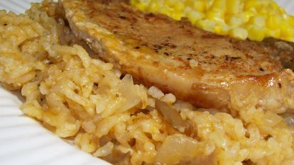 Simply Oven Baked Pork Chops and Rice #ovenbakedporkchops