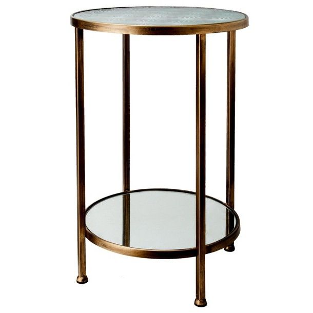 Cervenka 79 99 Threshold Mirrored Etched Gl Accent Table Gold And Silver 14 5 Dia X