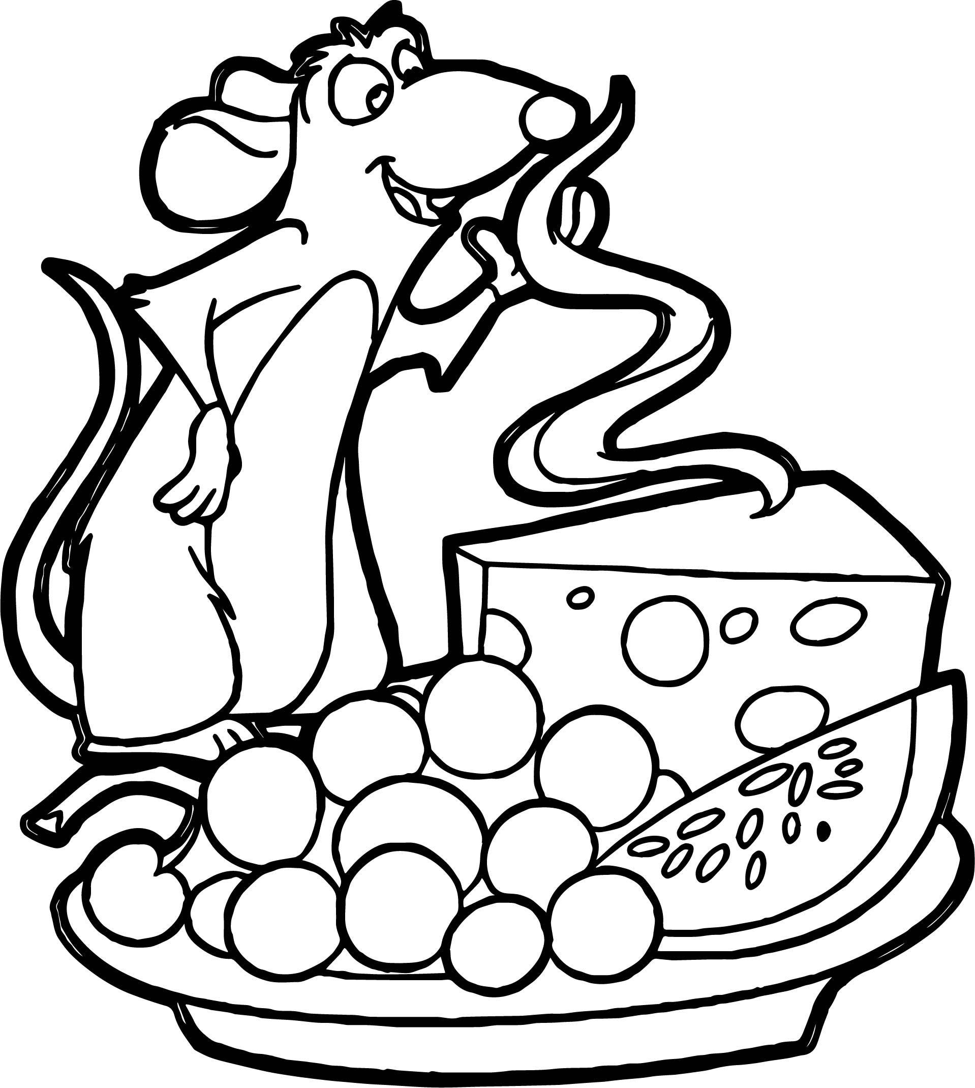 Nice Ratatouille Cheese Grape Watermelon Coloring Page Raskraski