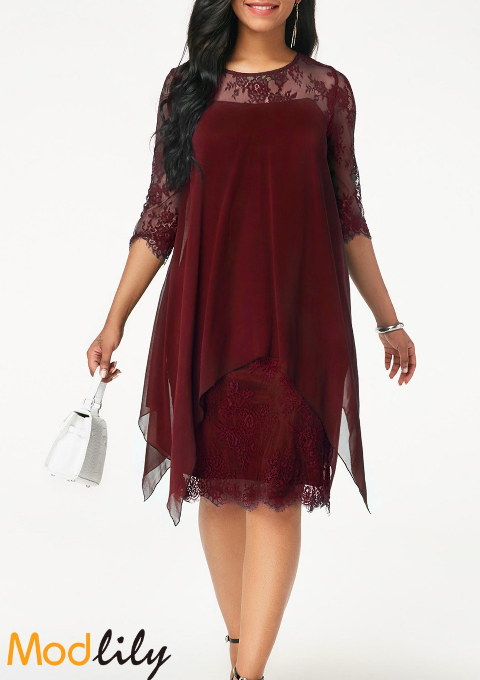 Round Neck Chiffon Overlay Lace Dress On Sale At Modlily. Free shipping. c90e7c71d338