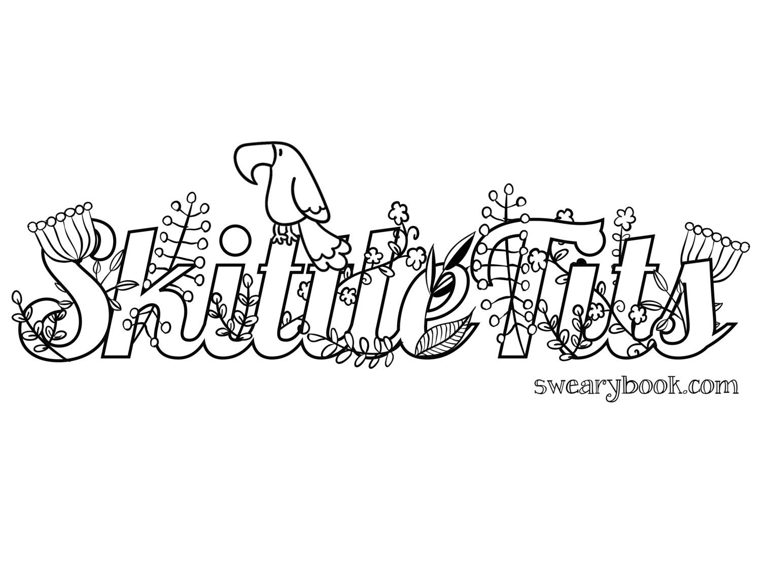Skittle Tits Swear Words Coloring Page From The Sweary Coloring