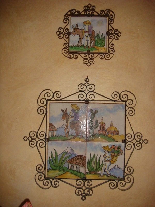 Sweet Vintage Mexican Tiles In Wrought Iron Frames Www Mexicana