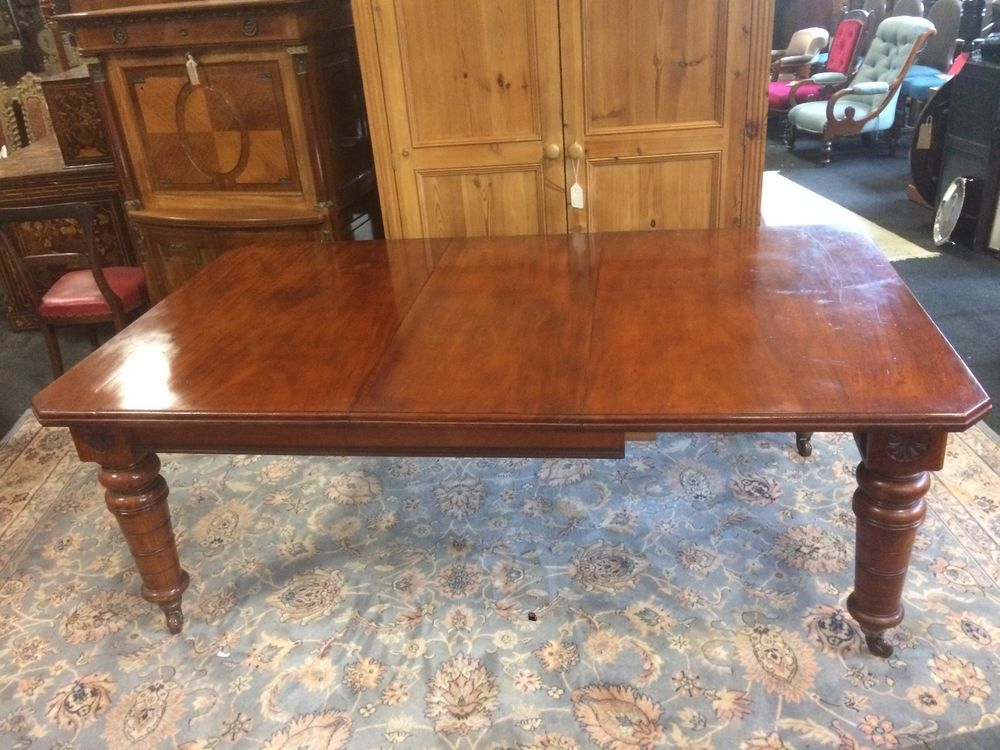 Large 12ft Antique 14 16 Seater Carved Victorian Walnut Extending Dining Table