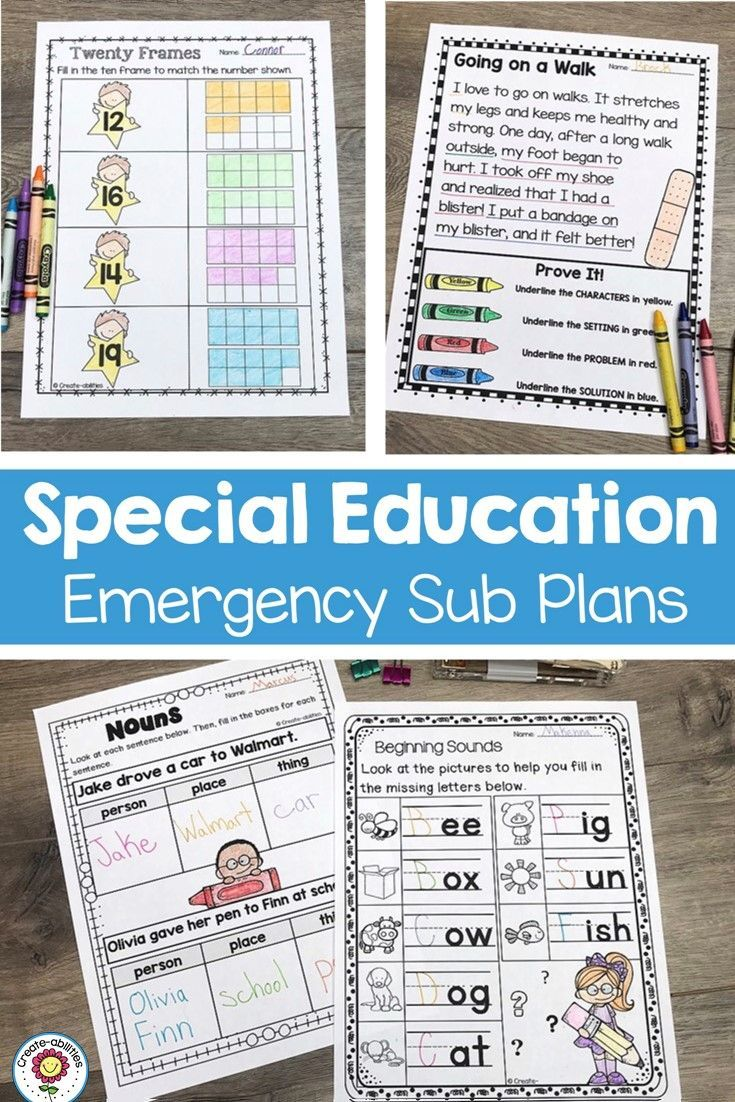 Sub Plans Special Education | Create-abilities Tpt Store | Pinterest ...