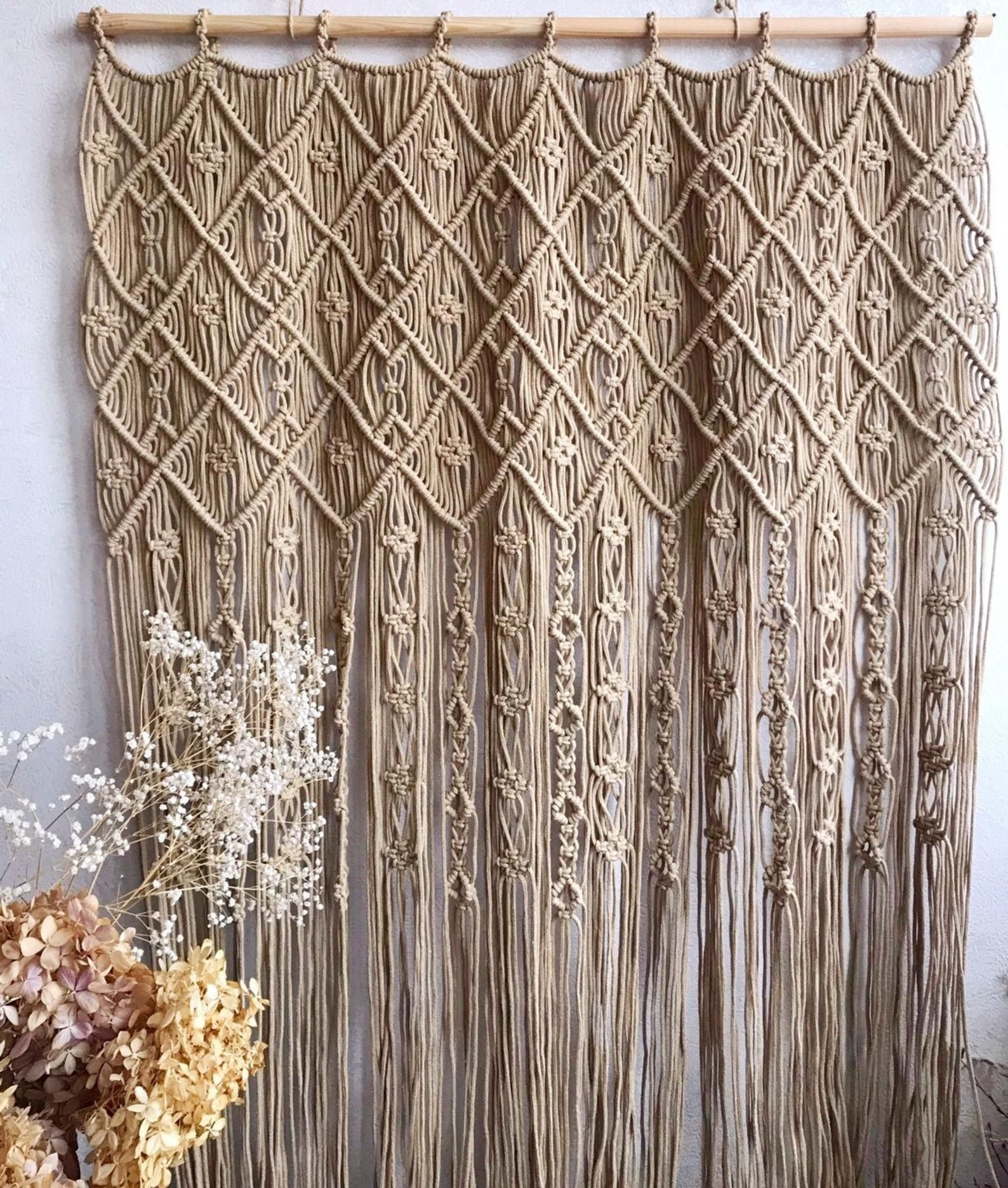 Macrame Curtain One Or Two Panels Curtain Macrame Room Etsy In