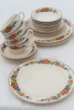 kitchen china dishes vintage islands 1930s w red blue tulips flower border farm country table ware