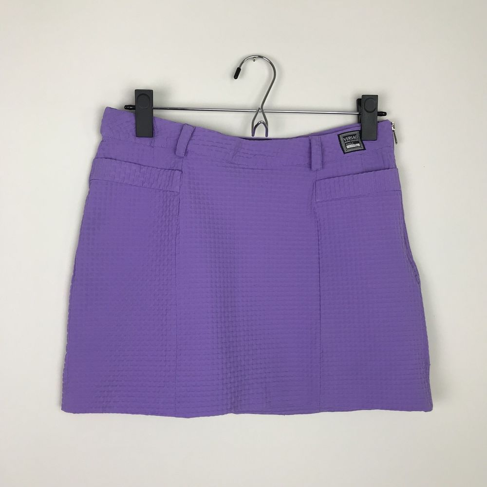 86082d5a84f Women s Vintage 90 s Authentic Versace Jeans Couture Purple Mini Skirt   Versace  Mini