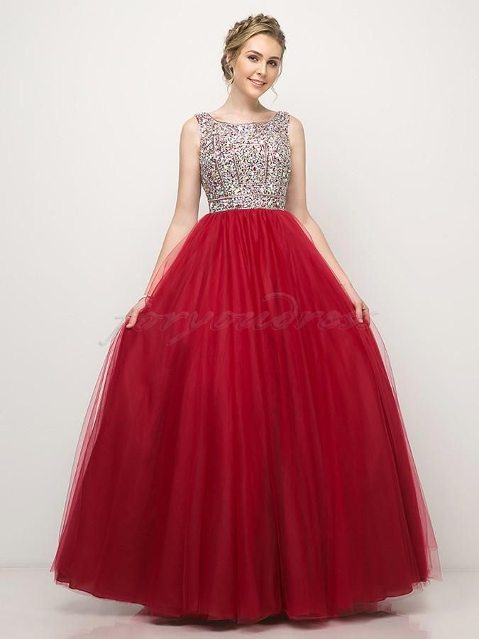 5790ea4afe CD 1884- Bead Encrusted Tank Open Back Scarlet Red Tulle Ball Gown Tulle  Ball Gown