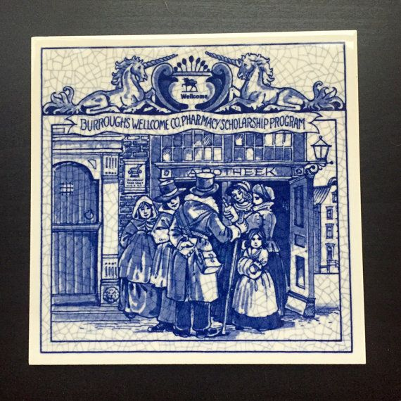 Delft Holland Handmade Pharmacy Tile by LakeUnionVintage on Etsy